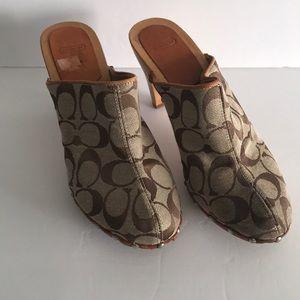 Coach Women's Clog type wooden heels Good cond
